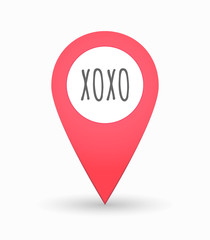 Isolated map mark with    the text XOXO