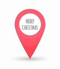 Isolated map mark with    the text MERRY CHRISTMAS