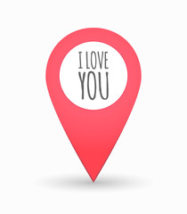 Isolated map mark with    the text I LOVE YOU