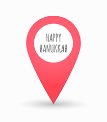 Isolated map mark with    the text HAPPY HANUKKAH