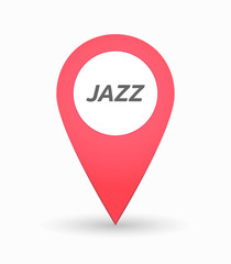 Isolated map mark with    the text JAZZ