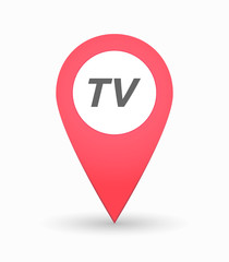 Isolated map mark with    the text TV