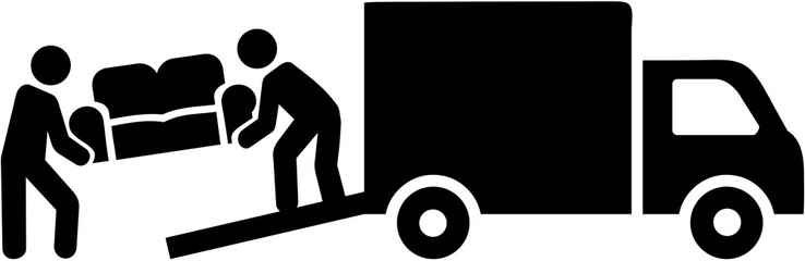 Wall Mural - Remover mover with truck carrying a sofa