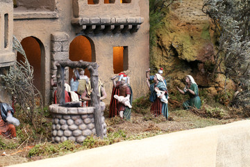 Nativity scene with a well.