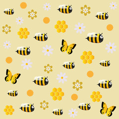 Image of cheerful bees on a yellow background with flowers and butterflies
