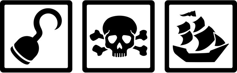Pirate icons. Hook, Skull with bones, ship