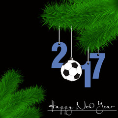 Soccer ball and 2017 on a Christmas tree branch