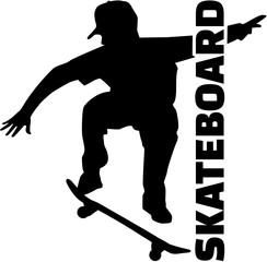 Skateboarder with title