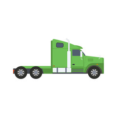 Vector image of a tractor unit truck without a trailer in flat style isolated on white background.