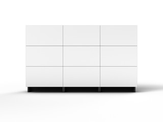 Projection cubes video wall with white screen 3D illustration