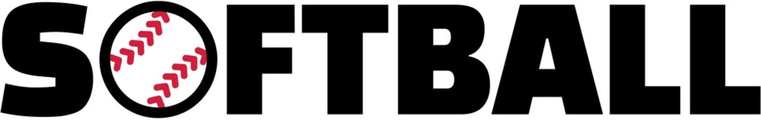 Softball word with ball