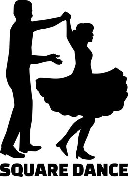 Square dance silhouette with word