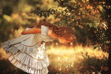little girl in vintage dress