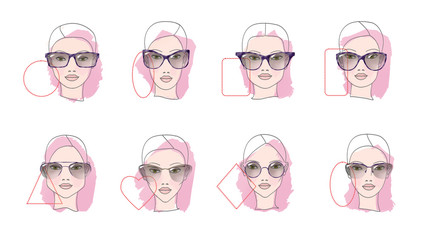 How to choose glasses, Eight Face shapes with options for spectacle frames on a white background