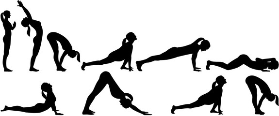Yoga sun salutation - all positions in two rows