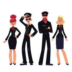 Airplane crew of pilots and stewardesses, cartoon vector illustration isolated on white background. Set of pilots and stewardesses, flight assistants in black colored uniform