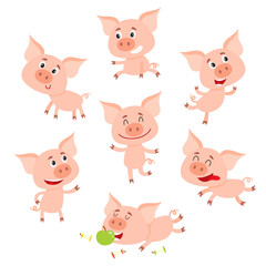 Funny little smiling pig in various poses, set of cartoon vector illustrations isolated on white background. Cute little pig standing, sitting, dancing, lying, eating, running happily,