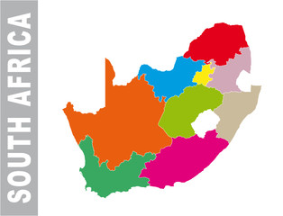 Colorful South Africa administrative and political vector map
