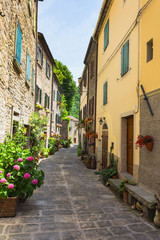 Wall Mural -  Italian street in a small provincial town of Tuscan