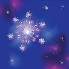 Snow fireworks. Vector image. Design to design banner, poster, greeting cards.