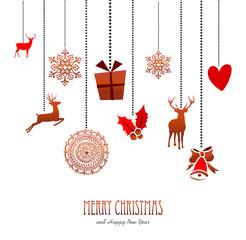 Merry christmas retro hanging xmas decoration card