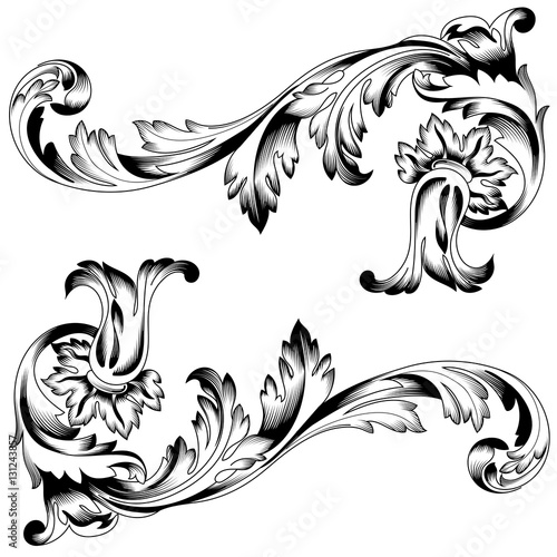 vintage baroque ornament corner retro pattern antique style acanthus decorative design element filigree