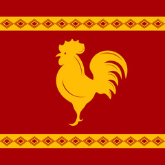 Silhouette of rooster in Slavic style in yellow and red colors