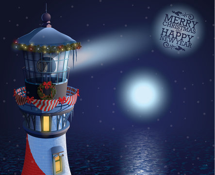 Christmas decorated lighthouse