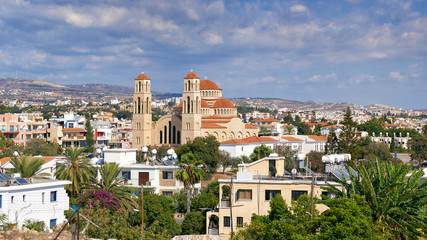The panorama of Paphos with Agioi Anargyroi Orthodox Cathedral, Cyprus.