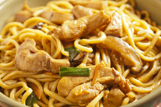 Hong Kong Style Chicken Lo Mein in a wok