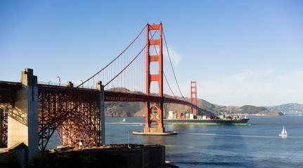 Contaiiner Ship Golden Gate Bridge San Francisco Bay California