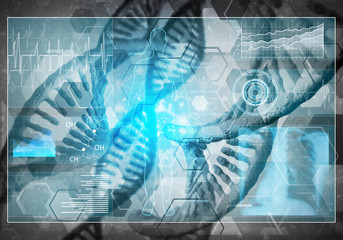 DNA molecules background, 3D rendering