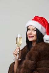Christmas woman in fur coat
