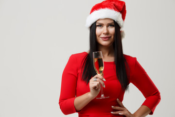 Brunette in red at Christmas