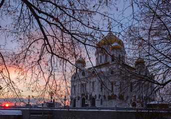 Moscow Cathedral of Christ the Savior at winter sunrise, Russia.