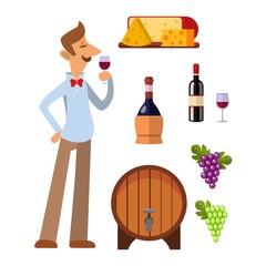 Wine production vector set.
