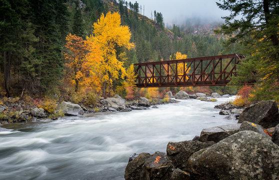 Bridge crossing over the river in Leavenworth