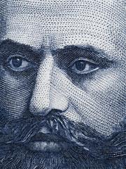Theodor Herzl (1860 - 1904) portrait on old Israeli 10 shekel banknote extreme macro.