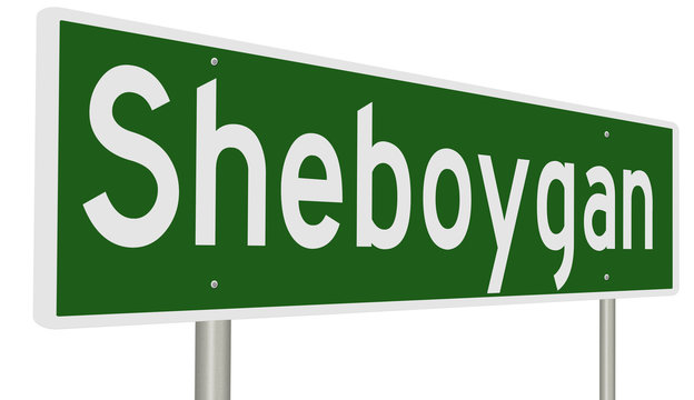 A 3d rendering of a green highway sign for Sheboygan, Wisconsin