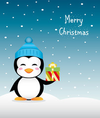 Nice Christmas penguin with gift and winter hat