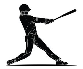 Baseball player hitter. Vector illustration.