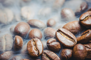 Artistic coffee seeds with shallow depth of field background.