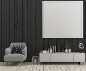 3d rendering mock up frame in living room with armchair