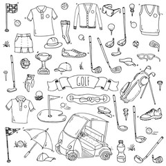 Hand drawn doodle Golf icons set. Vector illustration. Game collection. Cartoon golfing various sketch elements: clubs, tee, bag, cart, sport cloth, shoes, polo shirt, umbrella, flag, hole, grass.