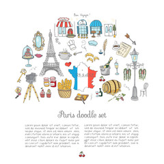 Set of hand drawn French icons, Paris sketch illustration, doodle elements, Isolated national elements made in vector. Travel to France icons for cards web pages, Paris symbols collection Eiffel tower