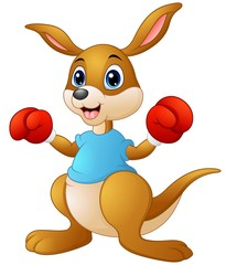 Cartoon kangaroo boxing