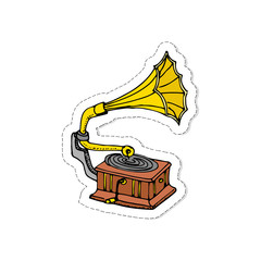 Hand drawn doodle Gramophone patch. Vector illustration musical instrument and symbols icons collections Cartoon sound concept elements Music Gramophone vector logo design template