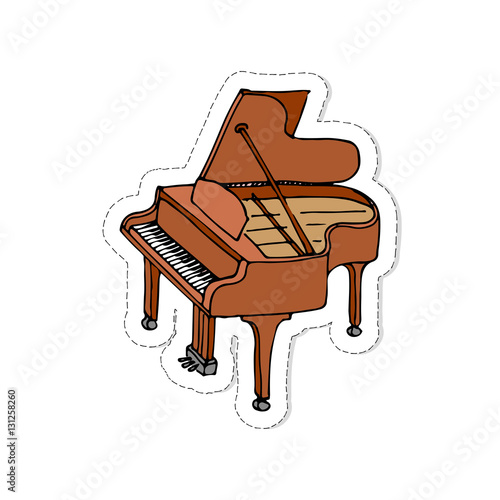 Hand Drawn Doodle Piano Patch Vector Illustration Musical