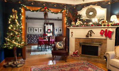 Interior Christmas Living & Dining Rooms, HDR