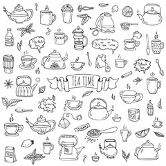 Hand drawn doodle Tea time icon set. Vector illustration. Isolated drink symbols collection. Cartoon various beverage element: mug, cup, teapot, leaf, bag, spice, plate, mint, herbal, sugar, lemon.